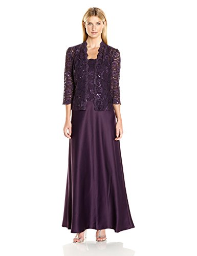 Alex Evenings Women's Two Piece Dress With Lace Jacket (Petite and Regular Sizes), Eggplant, (16 Eggplant)