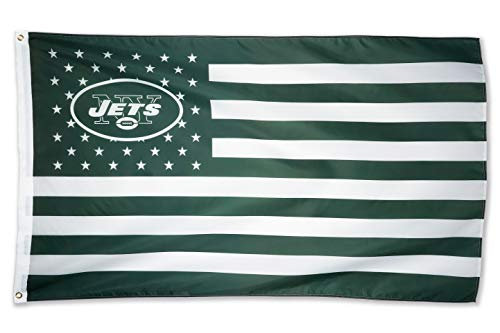 WHGJ New York Jets NFL 3x5 FT Flag Super Bowl Stars and Stripes Indoor/Outdoor Sports Banner