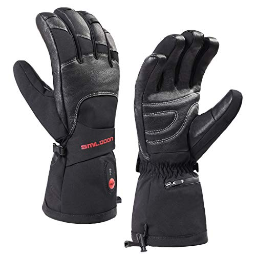 Smilodon Heated Gloves for Men Women, Battery Operated, Rechargeable, Electric Heating Ski Gloves, for Raynaud's Arthritis Hands (Black, M)
