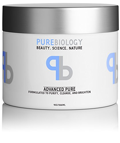 Pure Biology Clay Face Mask, 9 oz - Cleanse & Minimize Deep Pores, Spots, Blackheads & Acne – Beauty Facial Mask Infused w/ Pea Peptide Extract to Instantly Brighten & ()