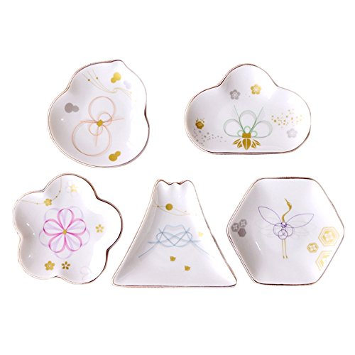 Colias Wing Mountain/Cloud/Gourd/Hexagon/Cherry Blossoms Shape Design Multipurpose Porcelain Side Dish Bowl Seasoning Dishes Soy Dipping Sauce Dishes(Set of 5)-White