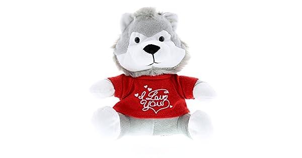 Amazon.com: dollibu I Love You de lobo gris Animal de ...