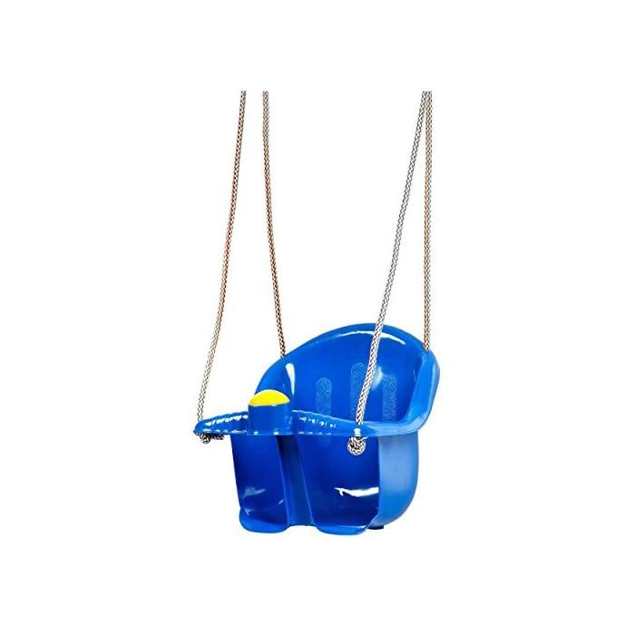 418kk7qFjIL El asiento es fácil de instalar, suspendido por cuerda resistente Viene con un cuerno de plástico en la parte delantera Tiene una parte superior más alta para el apoyo