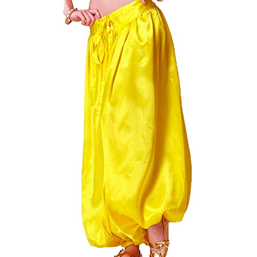 MUNAFIE Belly Dance Pants Carnival Satin Latern Pants Tribal Harem Pants Yellow, One Size (Belly Dance Harem Pants For Women)