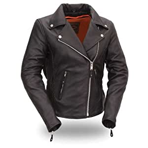 First Manufacturing Women's Hourglass Motorcycle Jacket (Black, X-Large)