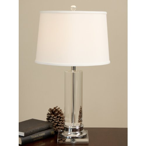 Crystal Column Chrome-Finished Table Lamp
