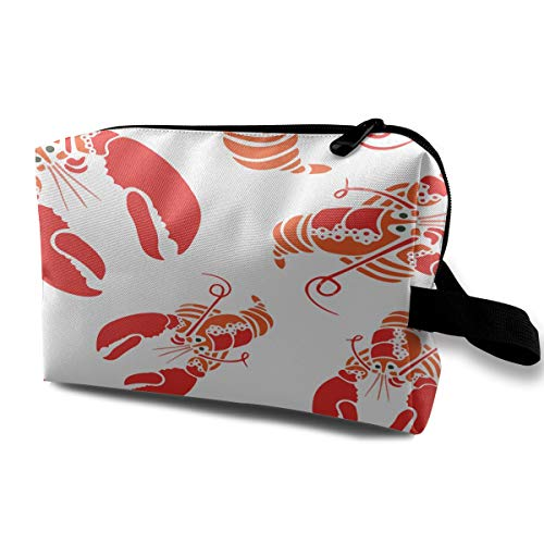 Denim09 Cosmetic Bags Red Lobster Cute Multifunction Sewing Kit Medicine Makeup Storage Bag for Travel Camping Gym ()