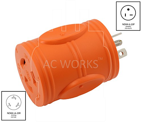 AC WORKS [AD620L620] Locking Adapter NEMA 6-20P 20Amp 250Volt Male Plug to NEMA L6-20R 20Amp 250Volt Locking Female Connector by AC WORKS (Image #1)