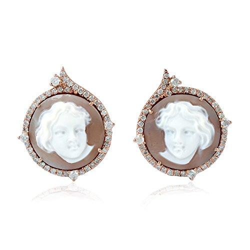 18K Rose Gold Shell Cameo Pave Diamond Stud Earrings for Women