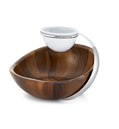 Savora Acacia Wood and Stainless Steel Two-Tier Chip-n-Dip Server, Natural