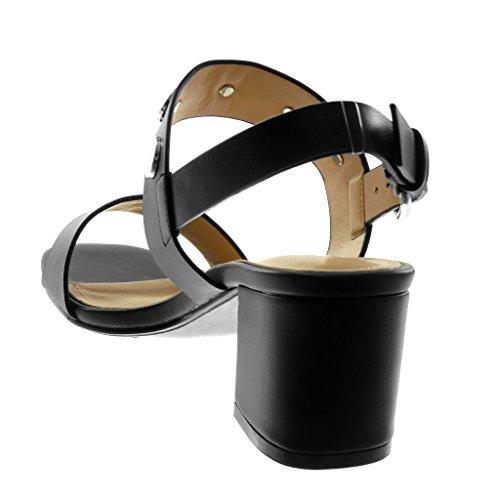Angkorly Damen Schuhe Sandalen Pumpe - Knöchelriemen - String Tanga - Nieten - Besetzt Blockabsatz High Heel 7 cm Schwarz