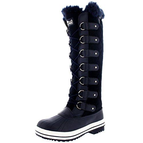 Knee POLAR Waterproof Winter Duck Rain High Snow Muck Navy Boots Quilted Womens Suede qAwACE
