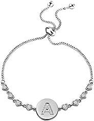 WUSUANED Rose Gold Initial Bracelet Letter Bracelet Adjustable Chain Bracelet Personalized Jewelry for Women G