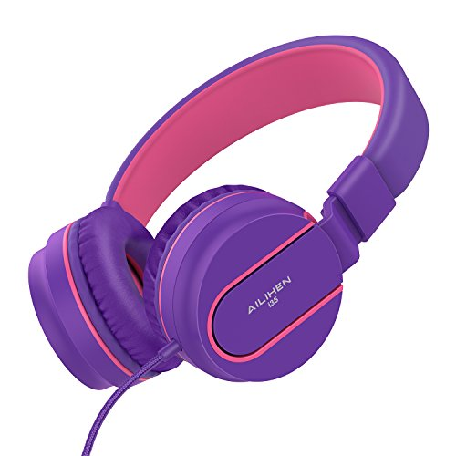 Ailihen I35 Stereo Lightweight Foldable Headphones Adjustable Headband Headsets with Microphone 3.5mm for Cellphones Smartphones iPhone Laptop Computer Mp3/4 Earphones (Purple)