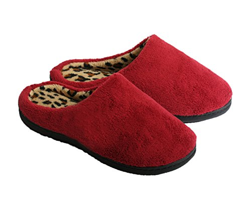 Terry Micro Lined Wine Slippers Clog Women's Leopard w OvTPnf