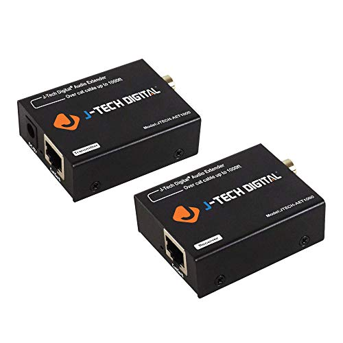 - J-Tech Digital Optical & Coaxial Digital Audio Extender/Converter Over Single Cat5e/6 Cable (PoC) up to 990 feet (300 Meter) for Dolby Digital, DTS 5.1, DTS-HD and PCM [JTECH-AET1000]