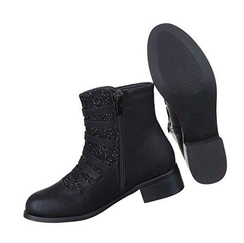 Damen Stiefeletten Schuhe Leicht Gefütterte Stiefel Schwarz Schwarz Schwarz 36 37 38 39 40 41 a29894
