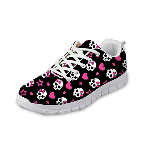 FOR U DESIGNS Stylish Pink Skull Print Young Women Lady Style Breathable Fashion Sneaker Running Shoes US 10