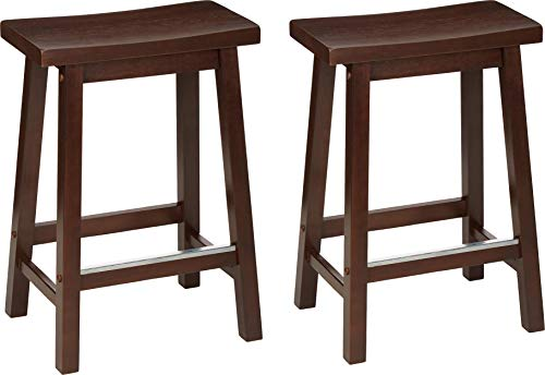 AmazonBasics Classic Solid Wood Saddle-Seat Counter Stool with Foot Plate - 24