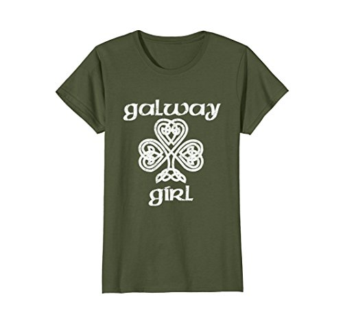 Celtic Irish Pub (Womens Galway Girl Irish T-Shirt for Women & Kids XL Olive)