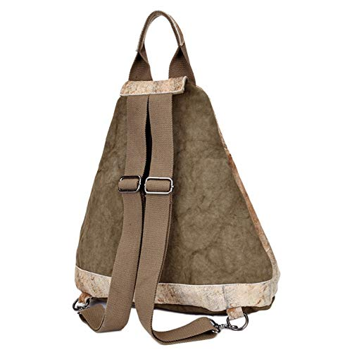 Backpack con Canvas Bag a colore Retro pelle kaki mano strofinaccio Cvthfyky kaki Travel Outdoor in 5gxpWwpqRn