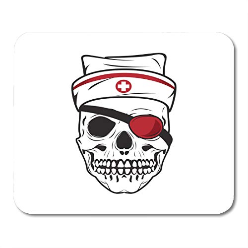 Semtomn Mouse Pad Human Skull Nurse Hat and Eye Patch Symbol Mousepad 9.8