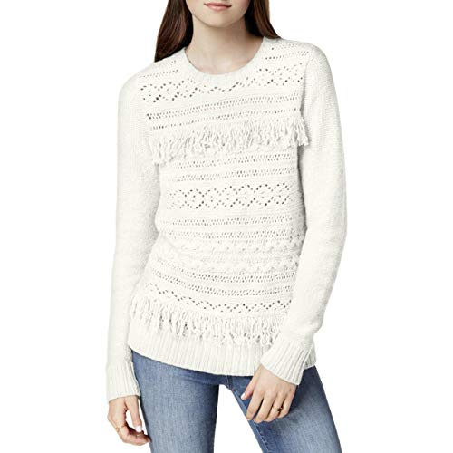 Knit Sweater with Tassel Fringe Detail, French Vanilla, M ()