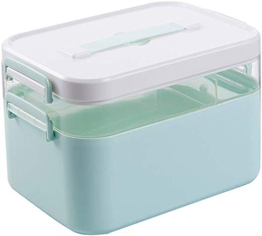GAOLE Estuche de Almacenamiento hogar Botiquín de Primeros Auxilios Caja de la Medicina de 2 Capas Botiquín Grande Medicina Organizador del almacenaje de Primeros Auxilios (Color : Blue, Size : S): Amazon.es: Hogar