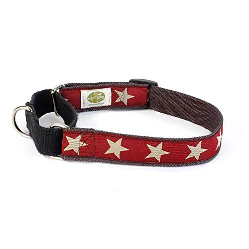Earthdog Martingale Hemp Dog Collar, Star Pattern (Red, Medium)