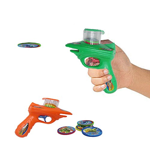 Dazzling Toys Kids 2 Foam Disc Shooters with 8 Foam Discs Each Shooter, Shoots Discs up to 20 Feet. No Batteries Required. (Foam Shooter Gun)