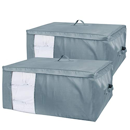Lifewit Large Set of 2 Capacity Under Bed Storage Bag with Clear Window Oxford Fabric Clothes Storage Bags for Comforters, Blankets, Bedding, Duvets, Clothes, Quilts, Pillows, Sweaters