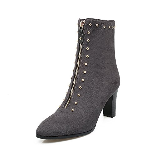 BalaMasa Womens Studded High-Heel Zipper Pointed-Toe Closed-Toe Urethane Boots ABL09805 Gray 2SNqi