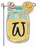 Cheap JEC Home Goods Home Garden Flags Monogram Lemonade Mason Jar Burlap Summer Garden Flag 12.5 x 18 (Letter W)