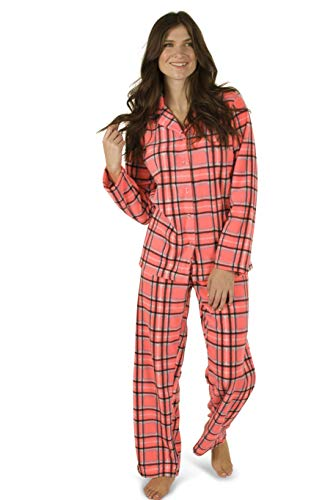 (Totally Pink Women's Warm and Cozy Plush Fleece Winter Two Piece Pajama Set Teen and Girls (Large, Bright Pink))