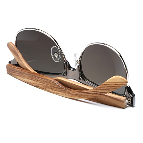 Ablibi Bamboo Wood Semi Rimless Sunglasses with Polarized Lenses in Original Boxes (Zebra Wood, Silver) by ABLIBI (Image #5)