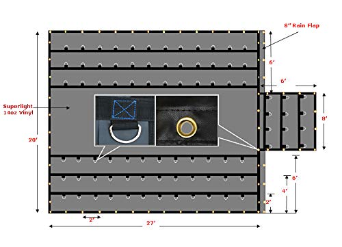 (Mytee Products Superlight 14oz Flatbed Trailer Lumber Steel Tarp 20x27 (6' Drop) - Black)