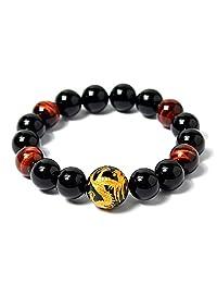AmorWing 10mm Dragon Engraving Obsidian and Red Tiger Eye Meditation Yoga Bracelets for Men