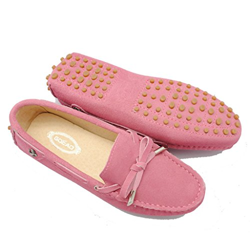Meijili Women's Suede Leather Loafer Flats Driving Moccasin Work Casual Peas Shoes Pink ETEnJ7