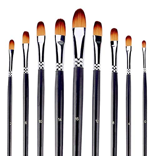 - Artist Paint Brushes Set 9pcs Filbert Tipped Paint Brushes Set for Acrylic Watercolor Oil Painting,Long Handle
