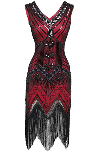 Flapper Dresses (BABEYOND Women's Flapper Dresses 1920s V Neck Beaded Fringed Great Gatsby Dress (Large, Red))