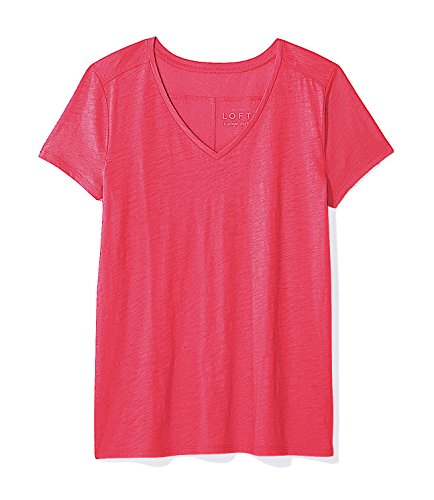 Ann Taylor Loft   Womens   Solid 100  Cotton Vintage V Neck Tee  Large  Fuchsia Pop Pink