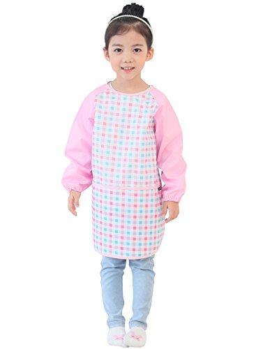 Plie Little Kids' Waterproof Art Smock With Sleeves Large Pink (Check Smock)