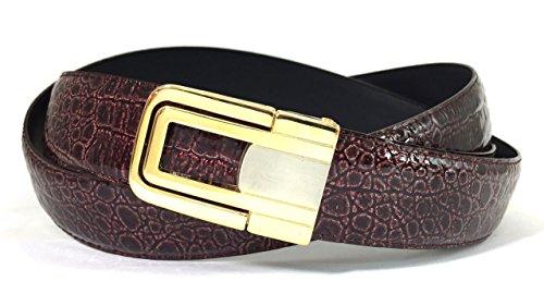 EDNA Bonded Leather Baby Crocodile Skin Print Dress Belt Burgundy