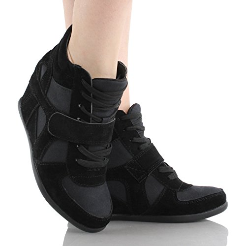Sammy 6 Velcro Hoge Top Wedge Sneaker Beige Zwart