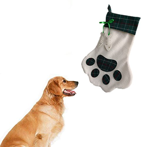 Red Bone Hound Dogs (Dog Stocking Storage Bag, Pet Doggy Personalized Paw Stocking Carrying Bag Christmas Decorations with Embroidered Plaid and Bone Attached by Fmji)