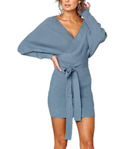 Mansy Women's Sexy Cocktail Batwing Long Sleeve Backless Mock Wrap Knit Sweater Mini (Mock Wrap Knit Dress)