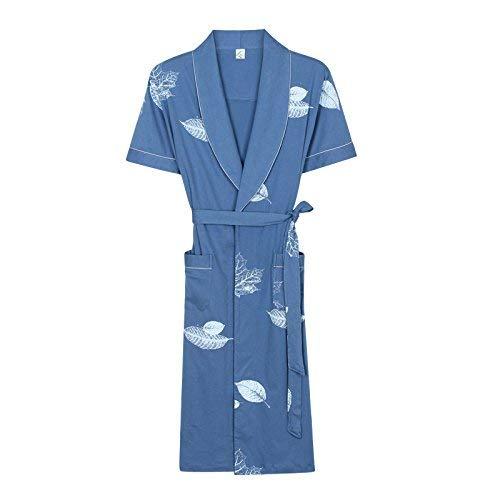 blueee XXXL Adult Homesuit Summer Couple Nightgown Ladies Cotton Thin Section Sexy Short-Sleeved Long Paragraph Yukata Summer Cotton Bathrobe Male (color   blueee, Size   XXXL)