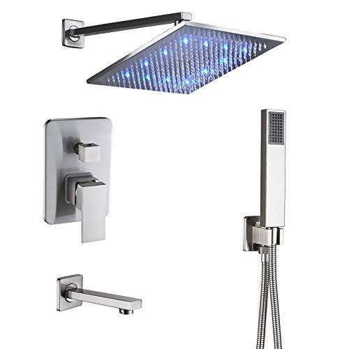 Rozin Bathroom 3-way Diverter Valve LED Light 12-inch Rainfall Shower Set Handheld Spray + Tub Spout Tap Brushed Nickel