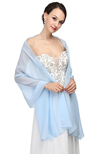 Blue Chiffon (Soft Chiffon Bridal Wedding Shawl Evening Wrap Scarf for Women by MicBridal Blue 60cm)