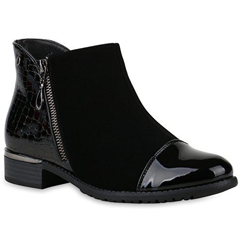 Stiefelparadies Damen Stiefeletten Ankle Boots Leicht Gefütterte Lack Schuhe Flandell Schwarz